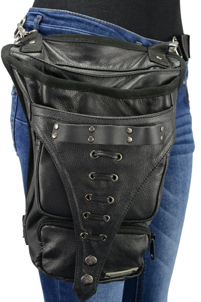 Milwaukee Leather MP8898 Black Leather Conceal and Carry Thigh Bag with Waist Belt
