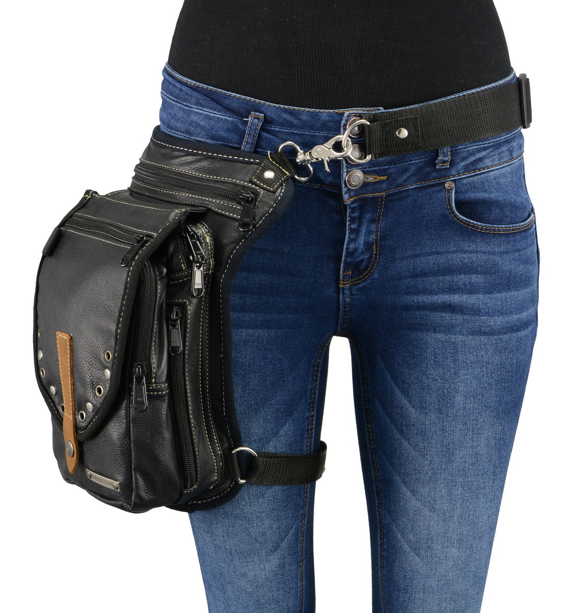 Milwaukee Leather MP8899 Conceal and Carry Black Leather Thigh Bag