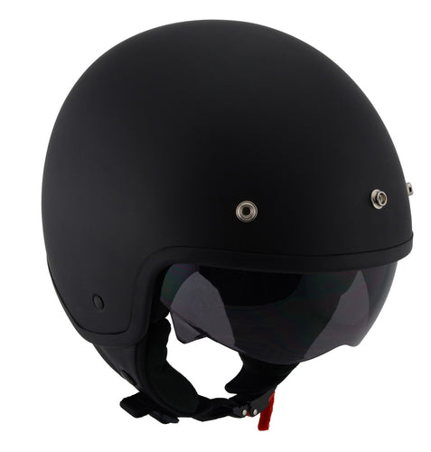 Milwaukee Performance Helmets MPH9700DOT 'Accelerator' 3 /4 Open Face Matte Black Helmet