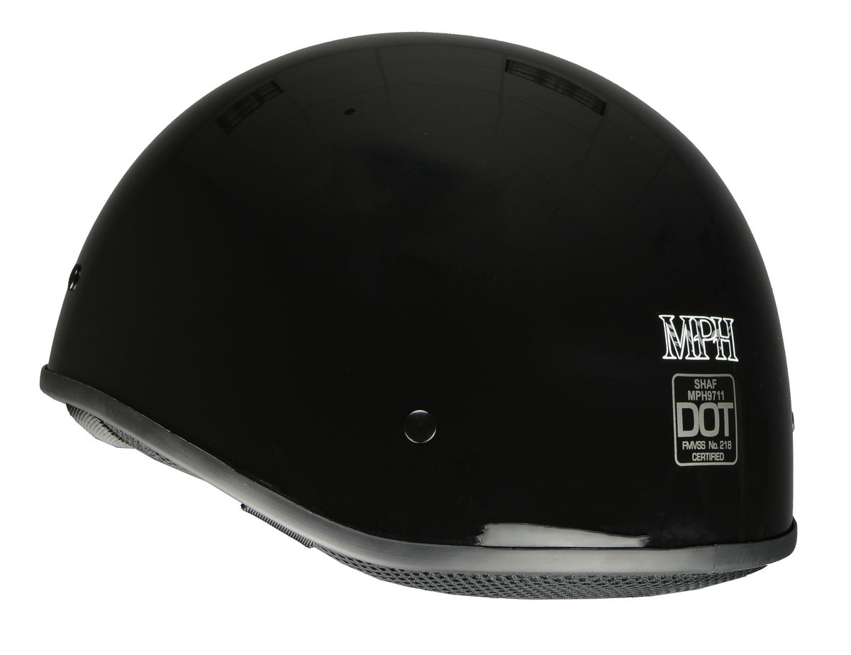Milwaukee Performance Helmets MPH9711DOT 'Bare Bones' Glossy Black