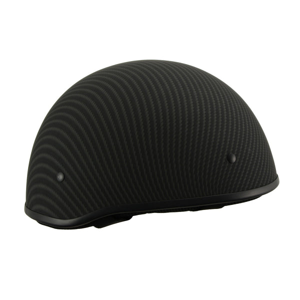 Milwaukee Performance Helmets MPH9712DOT Matte Black DOT Half Helmet with Carbon Fiber Look