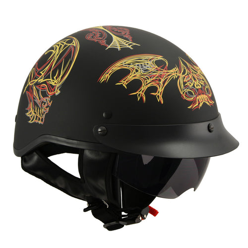 Milwaukee Performance Helmets MPH9724DOT 'Skull Graphic' Matter Black Half Helmet with Drop Down Sun Visor