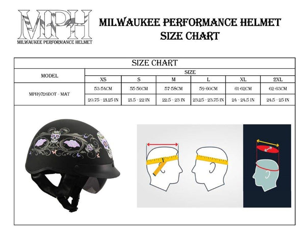 Milwaukee Performance Helmets MPH9726DOT 'Sugar Skull' Matte Black DOT Half Helmet with Drop Down Visor