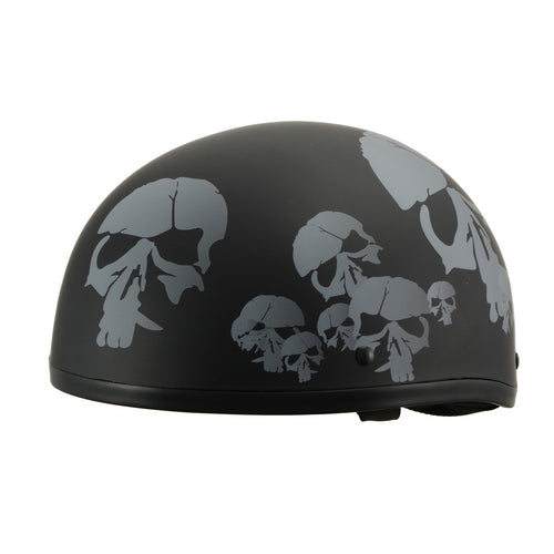 Milwaukee Performance Helmets MPH9876N Novelty 'Punished Skulls' Matte Black Half Helmet