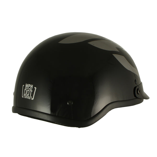 Milwaukee Performance Helmets MPH9779 Black 'Silver Skull' DOT Half Helmet