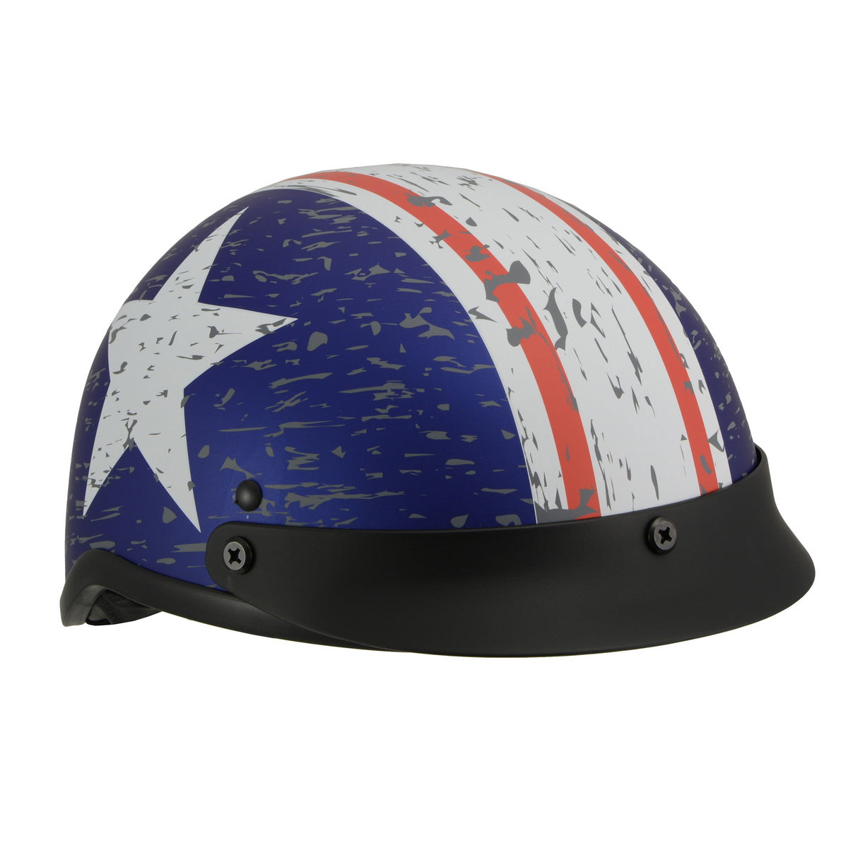 Milwaukee Performance Helmets MPH9781 Black 'Vintage Star' DOT Half