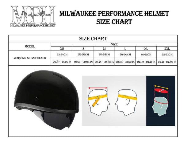 Milwaukee Performance Helmets MPH9851N Novelty 'Classic' Glossy Black Half Helmet with Drop Down Visor