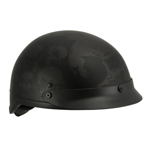 Milwaukee Performance Helmets MPH9873N Novelty 'Gathering of Skulls' Matte Black Half Helmet