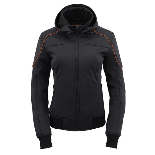 Milwaukee Leather MPL2764 Women's Soft Shell Armored Racing Style Jacket with Hoodie