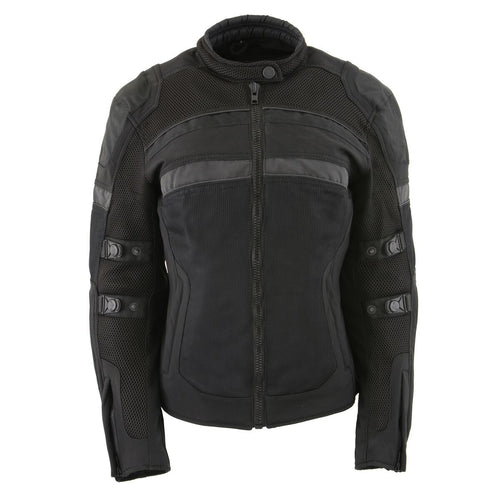 Milwaukee Leather MPL2775 Ladies Black Armored Textile and Mesh Racing Jacket