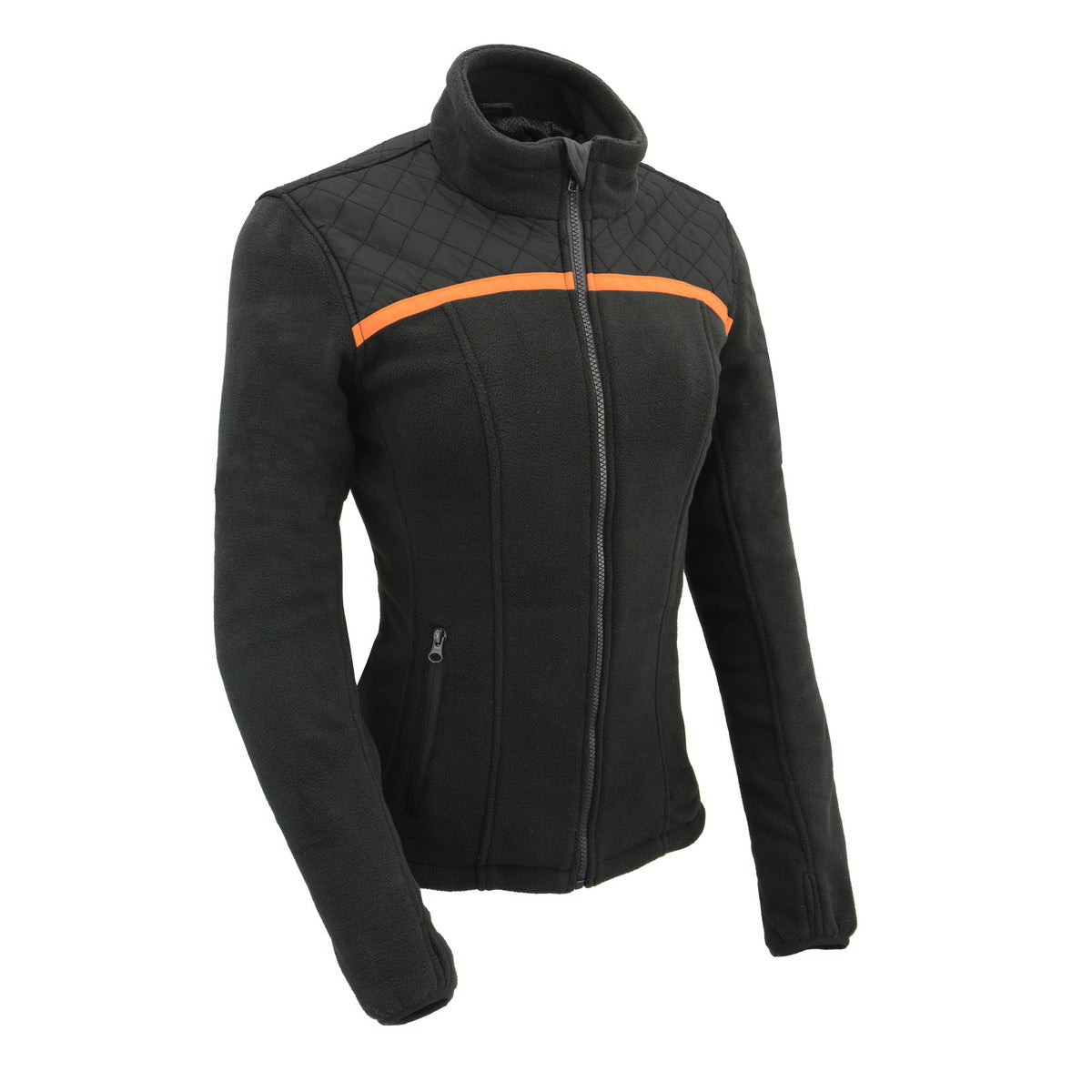 Milwaukee Leather Performance MPL2783 Women Micro Fleece Zipper Front Jacket with Orange Stripe
