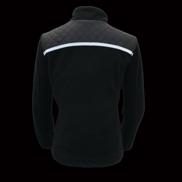 Milwaukee Leather MPL2784 Women's Black Micro Fleece Jacket with Reflective Stripes