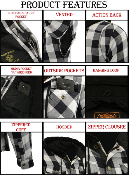 Milwaukee Performance MPM1629 Men's Black and White Armored Hooded Flannel Shirt with Aramid by DuPont Fibers