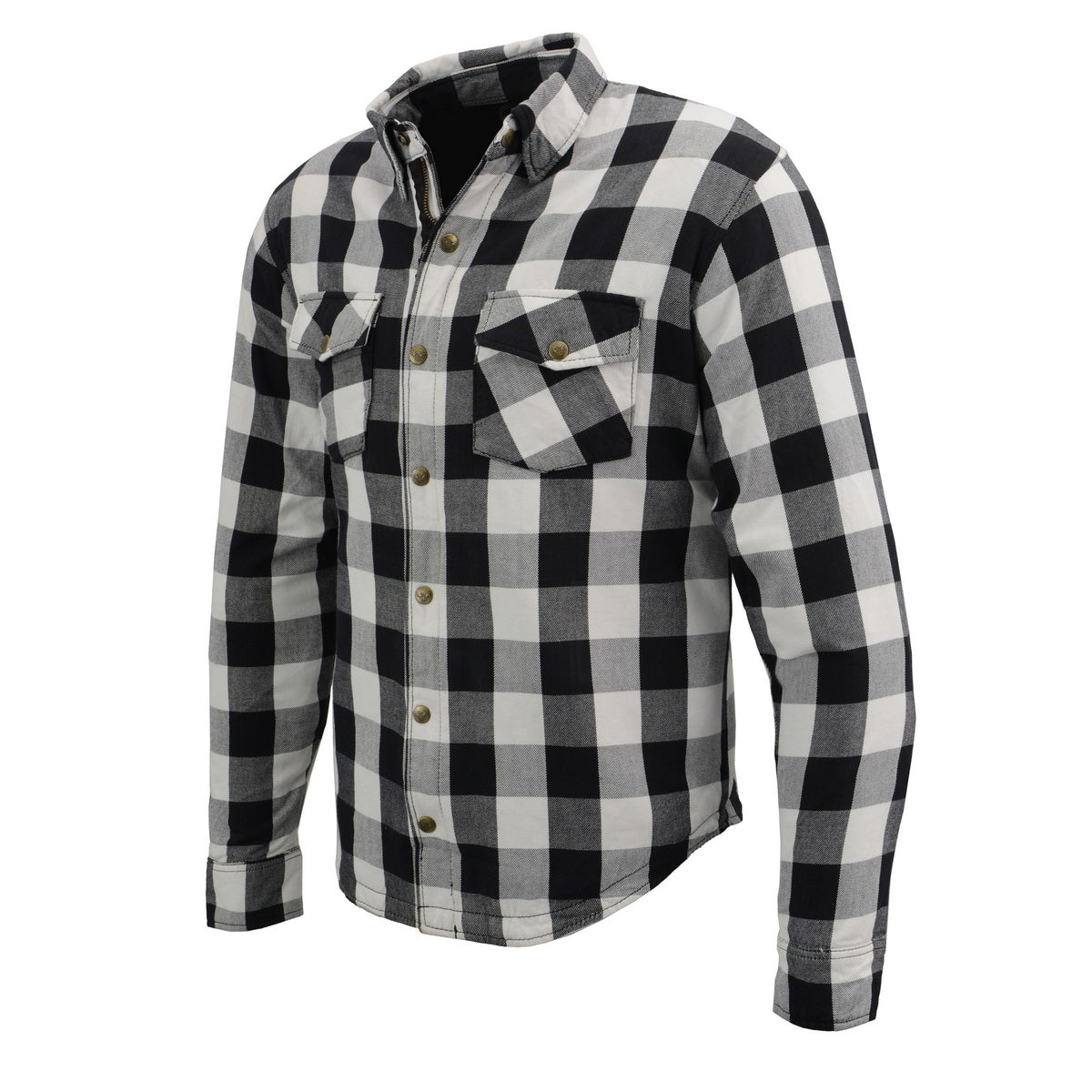 Milwaukee Leather MPM1633 Men's Armored Checkered Flannel Biker Shirt