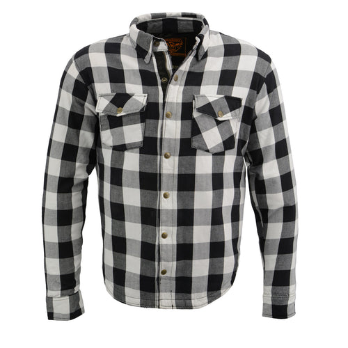 Milwaukee Leather MPM1633 Men's Armored Checkered Flannel Biker Shirt with Aramid® by DuPont™ Fibers