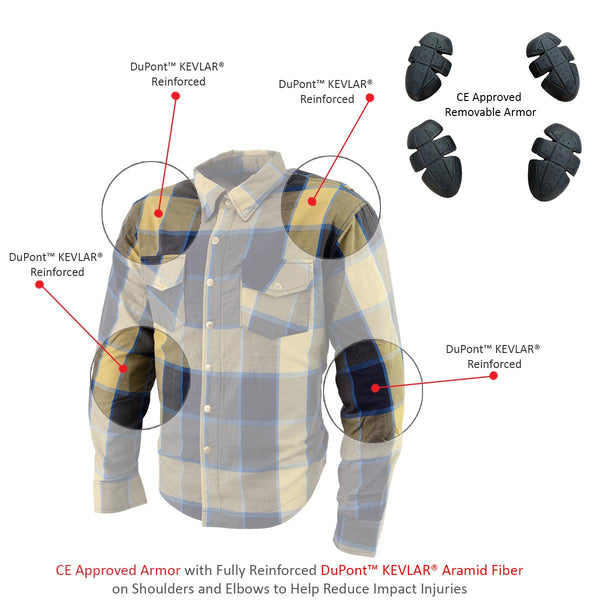 Milwaukee Leather MPM1639 Men's Beige, Black and Blue Armored Long Sleeve Flannel Shirt with Kevlar
