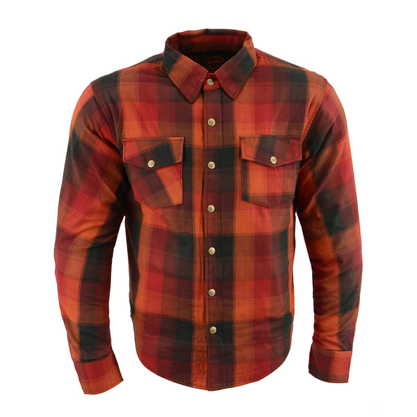Milwaukee Performance MPM1641 Men's Orange, Red and Black Armored Long Sleeve Flannel Shirt with Kevlar