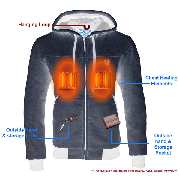 Milwaukee Leather MPM1714SET Men's Silver 'Heated' Zipper Front Hoodie (Battery Pack Included)