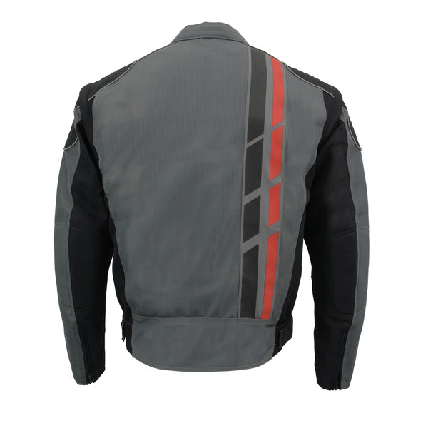 Milwaukee Leather MPM1752 Men's Black and Grey Mesh Armored Racing Jacket