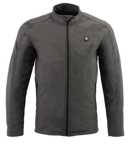 Milwaukee Leather MPM1762SET Men's Grey 'Heated' Collarless Soft Shell Jacket (Battery Pack Included)