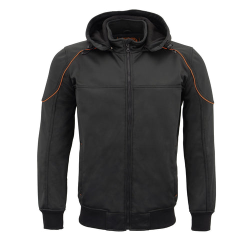 Milwaukee Leather Performance MPM1764 Mens Black Soft Shell Armored Racing Style Jacket With Detachable Hood