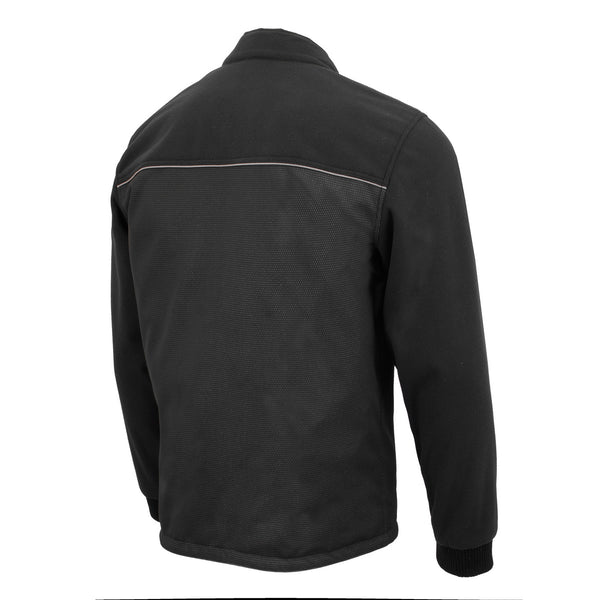 Milwaukee Leather MPM1780 Men's Black Textile and Fleece Combo Jacket with Reflective Piping