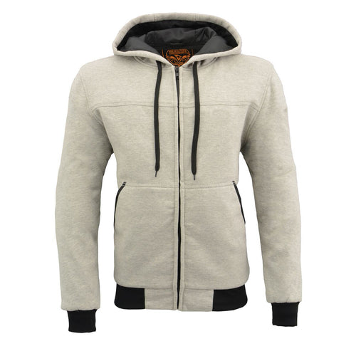 Milwaukee Performance MPM1788 Men's Silver CE Approved Removable Armored Hoodie with Aramid By Dupont