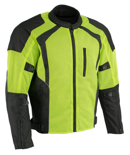 Milwaukee Leather MPM1793 Men's Armored High Vis Mesh Racer Jacket with Reflective Piping