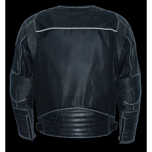 Milwaukee Performance MPM1796 Men's Armored Distressed Grey Leather and Mesh Racer Jacket