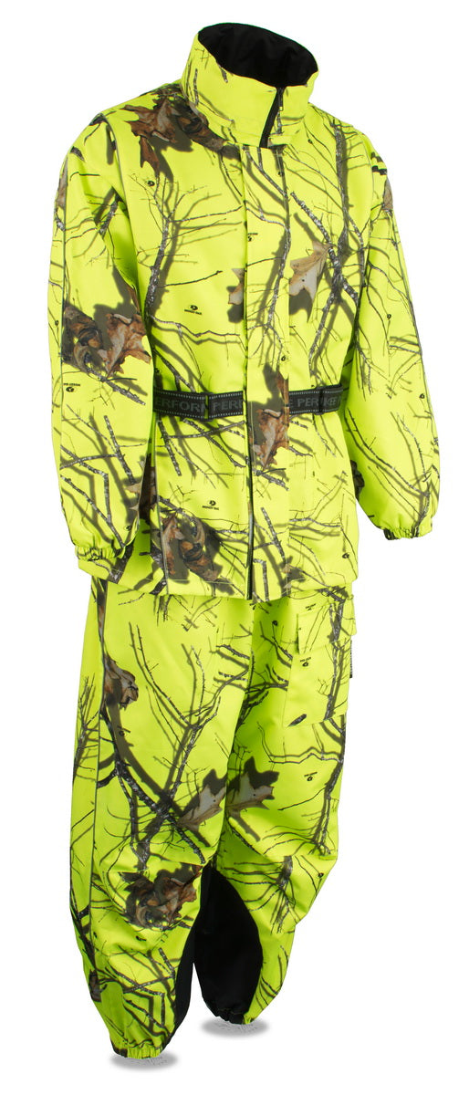 Milwaukee Leather Performance MPM9515 Mens Hi Vis Mossy Oak Camo Rain Suit with Reflective Piping