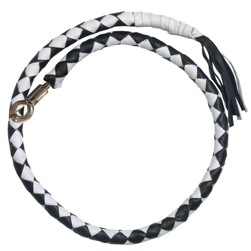 Hot Leathers MWH1103 'Get Back' Genuine Black and White Leather Whip