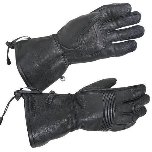 Xelement XG856 Men's Black Gauntlet Deerskin Insulated Padded Motorcycle Gloves