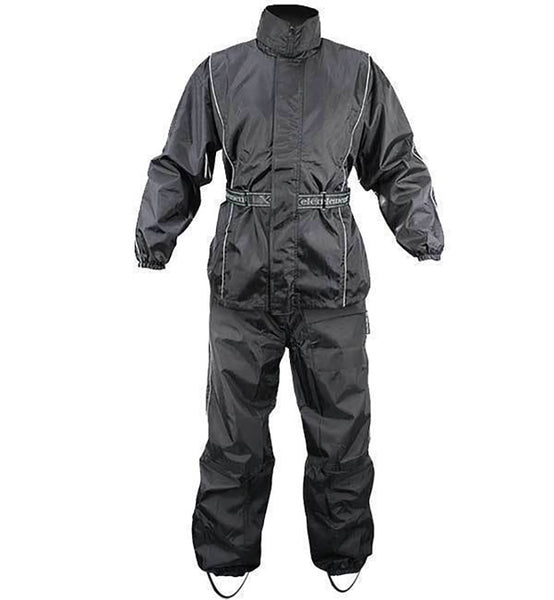 Xelement RN4760 Men's Black 2-Piece Motorcycle Rain Suit with Boot Straps