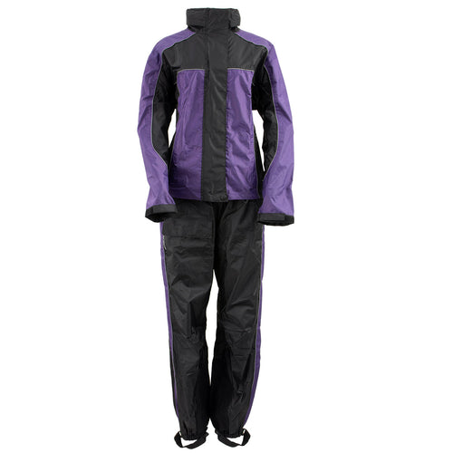 Xelement RN4764 Ladies Black and Purple 2-Piece Motorcycle Rain Suit with Boot Strap