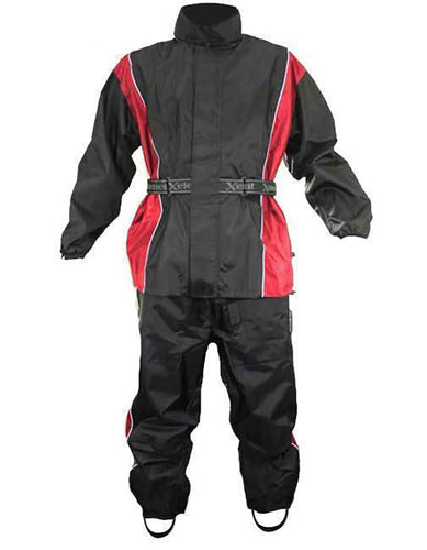 Xelement RN4766 Men's Black and Red 2-Piece Motorcycle Rain Suit with Boot Strap