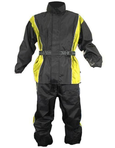 Xelement RN4782 Men's Black and Yellow 2-Piece Motorcycle Rain Suit with Boot Strap