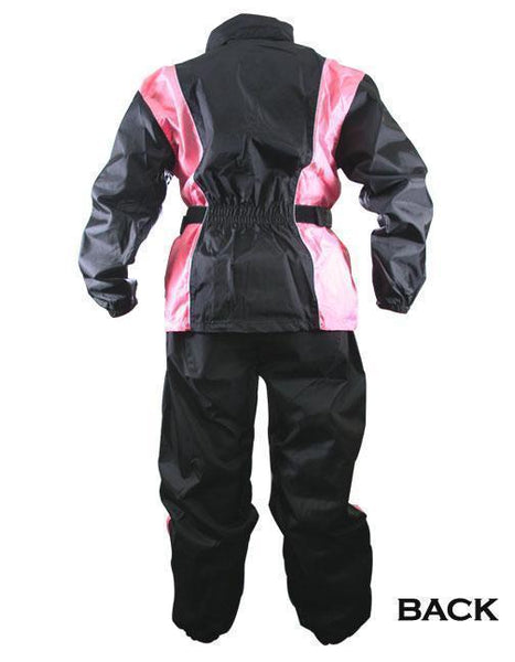 Xelement RN4786 Ladies Black and Pink 2-Piece Motorcycle Rain Suit