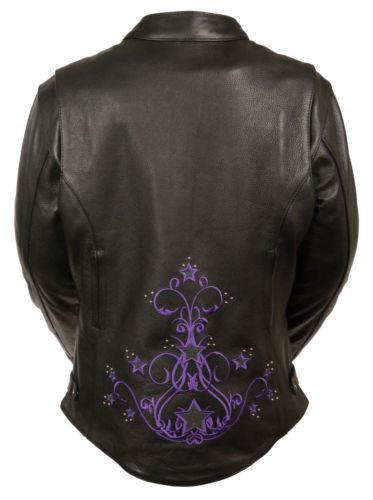 Milwaukee ML2500 Women's Reflective Star Riveted Black and Purple Leather Jacket