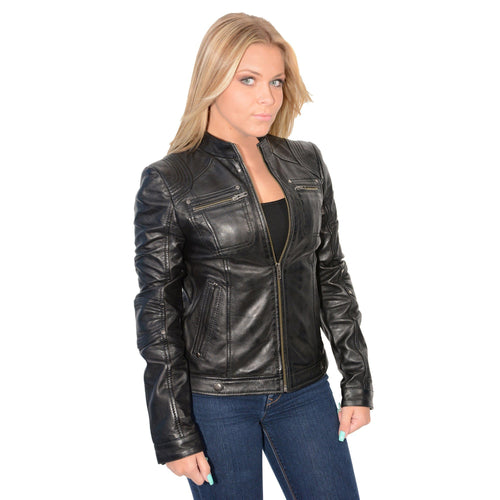 Milwaukee Leather SFL2800 Ladies 'Racer' Black Stand Up Collar Leather Jacket