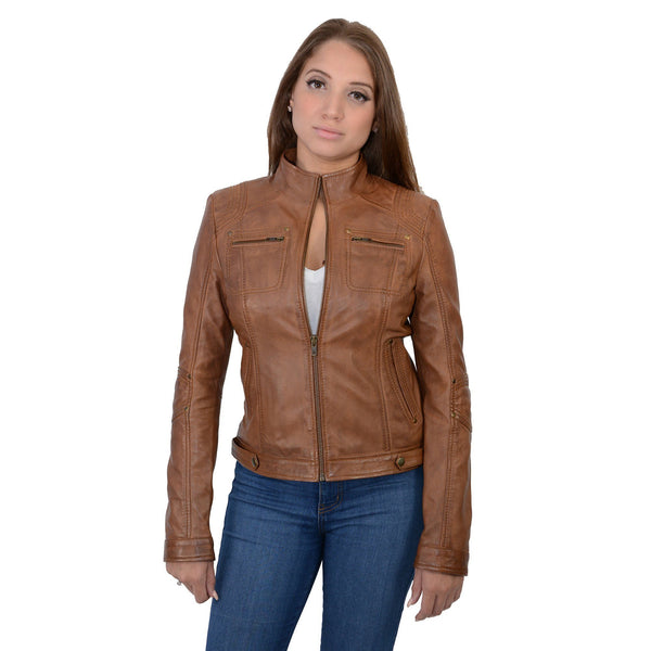 Milwaukee Leather SFL2800 Ladies Whiskey Stand Up Collar Racer Leather Jacket with Rivet Details