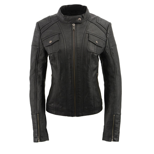 Milwaukee Leather SFL2806 Ladies 'Quilted' Black Mandarin Scuba Collar Leather Jacket