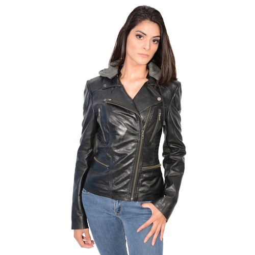 Milwaukee Leather SFL2815 Ladies 'Hooded' Black Leather Jacket with Asymmetrical Zipper