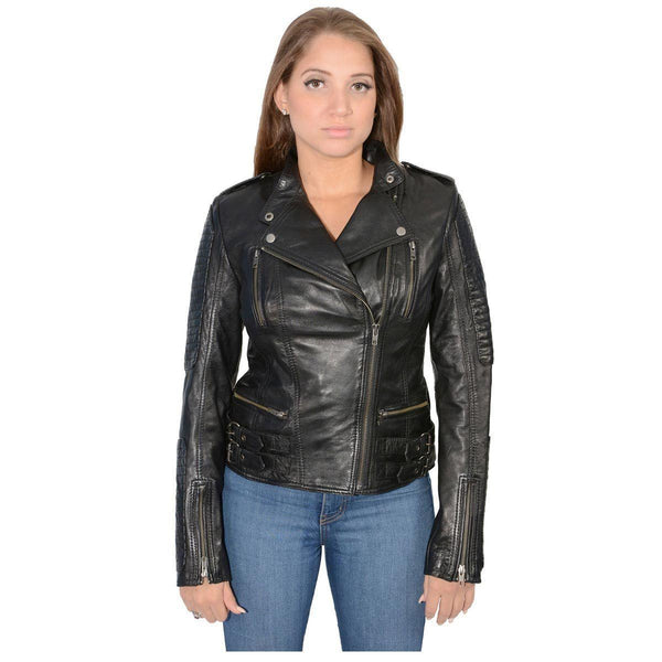 Milwaukee Leather SFL2820 Women's Quilted Black Lambskin Leather Jacket