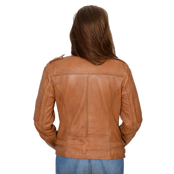 Milwaukee Leather SFL2820 Whiskey Women's Quilted Lambskin Leather Jacket