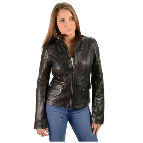 Milwaukee Leather SFL2825 Women's Snap Collar Black Lambskin Leather Jacket