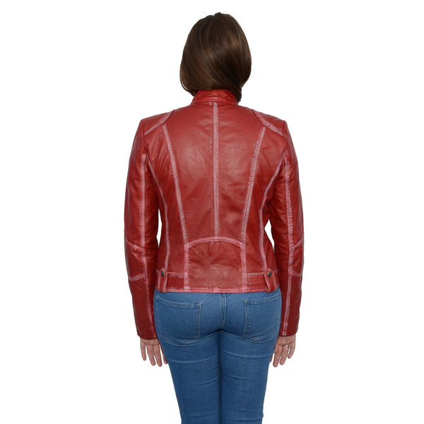 Milwaukee Leather SFL2830 Red Women's Scuba Style Sheepskin Leather Jacket