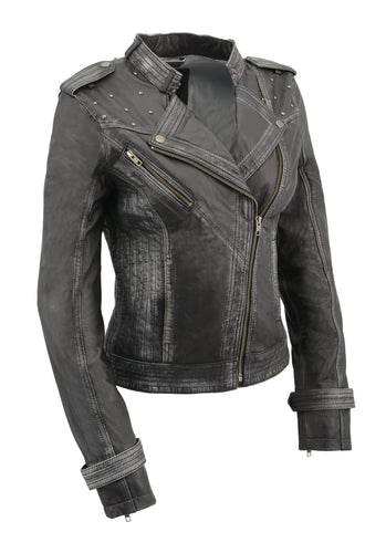 Milwaukee Leather SFL2840 Women's Black Sheepskin Leather Asymmetrical Moto Jacket with Studding