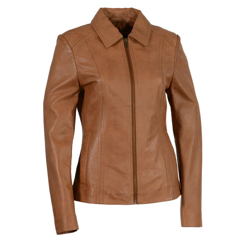 Milwaukee Leather SFL2850 Women's Saddle Leather Jacket with Shirt Style Collar