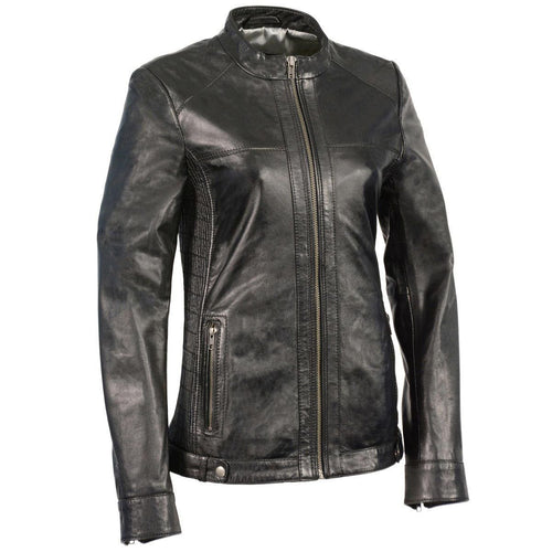 Milwaukee Leather SFL2855 Black Women's Zip Front Leather Jacket with Side Stretch Fitting