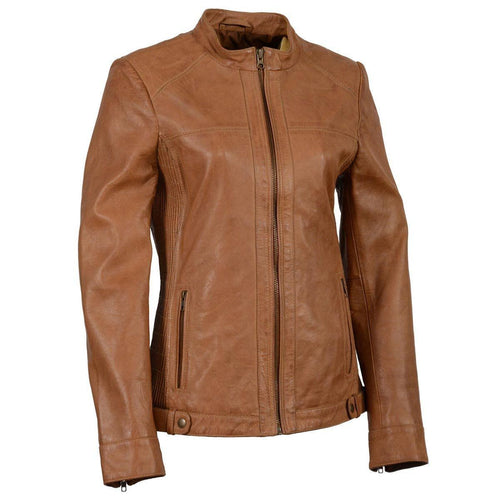 Milwaukee Leather SFL2855 Saddle Women's Zip Front Leather Jacket with Side Stretch Fitting